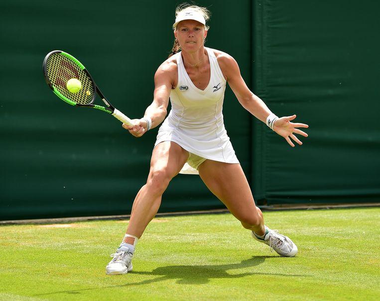 Kiki Bertens in haar partij tegen Karolina Pliskova op Wimbledon. Beeld AFP