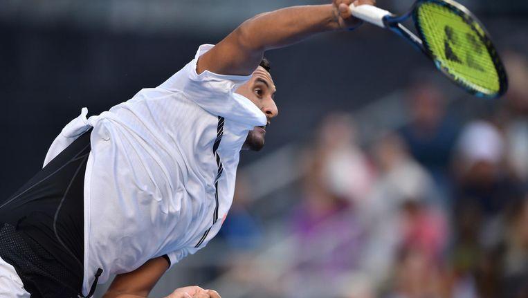 De 21-jarige Australiër demonstreerde woensdag in de tweede ronde van de Australian Open wederom de zelfdestructie, die zijn carrière ondermijnt. Beeld afp