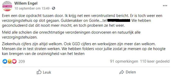 De oproep van Willem Engel om te bellen naar de Guldenakker