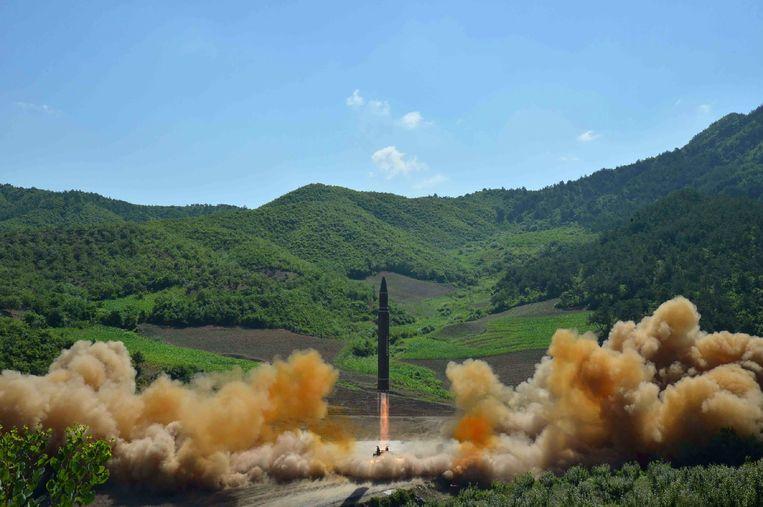 Raketlancering in Noord-Korea.  Beeld AFP