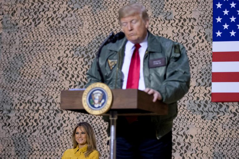 Trump bracht op tweede kerstdag een bezoek aan de Amerikaanse troepen in Irak.