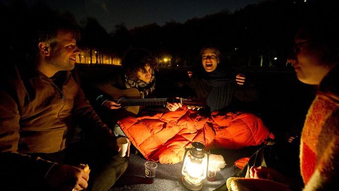 Deelnemers aan het Nederlandse Occupy-verzet in Den Haag.