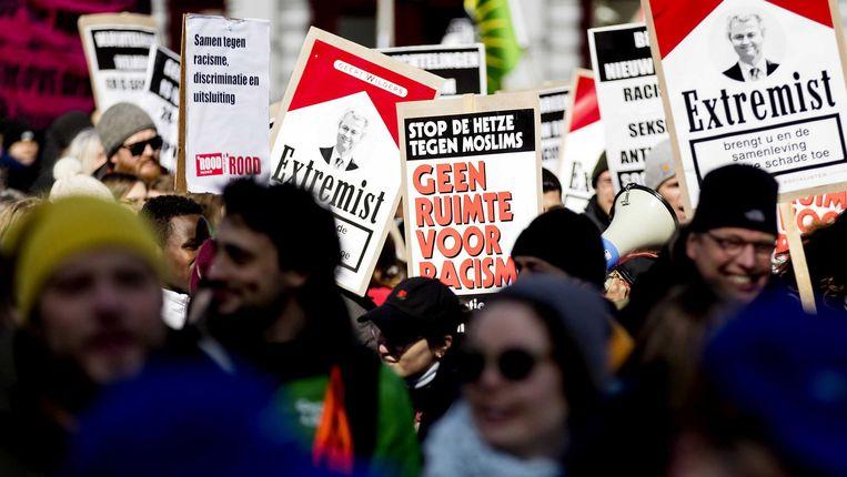 Deelnemers tijdens de landelijke demonstratie 'geen racisme in de raden'. Beeld anp