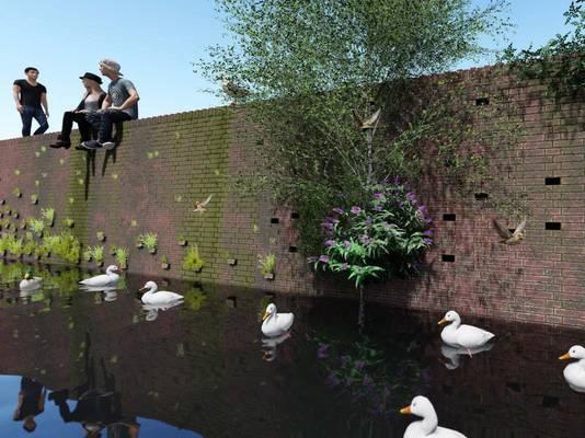 Groene kades langs de Nieuwe Mark in Breda