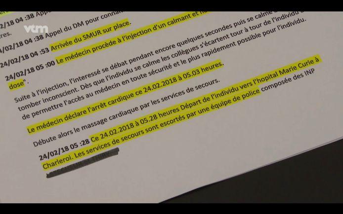 Het rapport van de luchthavenpolitie van Charleroi is zeer beknopt en verzwijgt wat er in de politiecel is gebeurd.