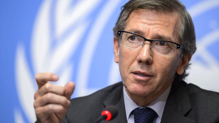 VN-gezant voor Libië, Bernardino Leon, bij de start van de gesprekken op 11 augustus.