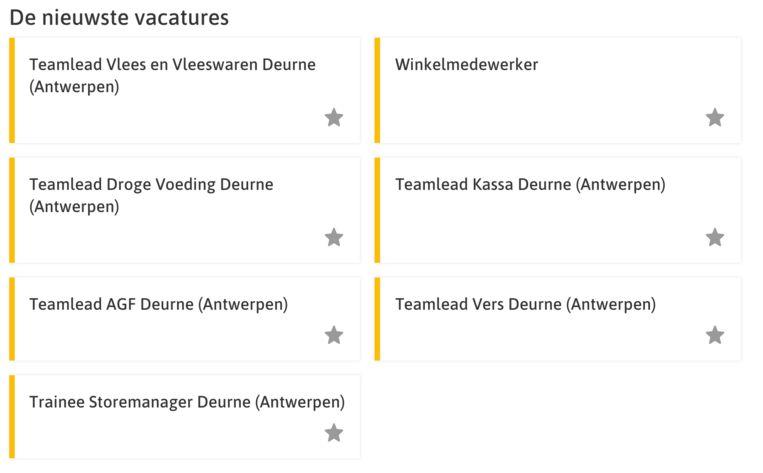 Op de website van Jumbo staan een aantal vacatures voor een winkel in Deurne (Antwerpen)
