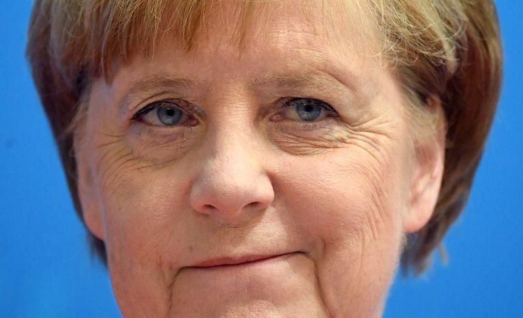Bondskanselier Angela Merkel tijdens de persconferentie op 18 juni 2018. Beeld EPA