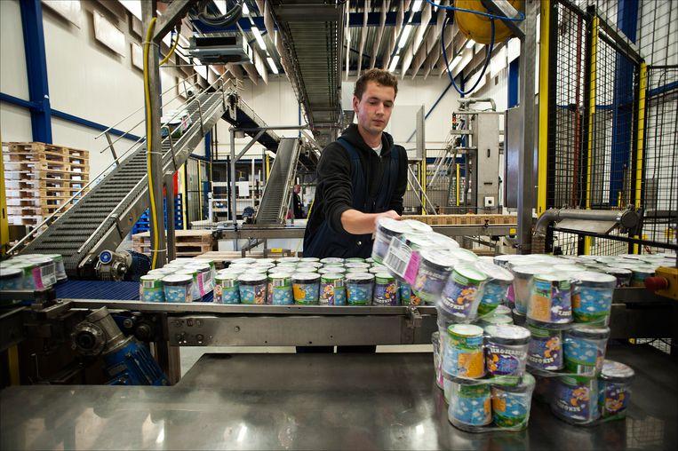 Een flexwerker bij Ola in Hellendoorn zet Ben&Jerry's ijs klaar voor verzending. Beeld ANP XTRA