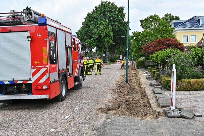 Gaslek bij de Postbaan in Prinsenbeek.