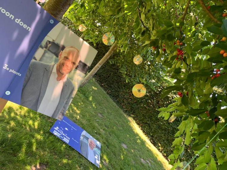 Gecombineerd met wat cd-schijfjes blijken de verkiezinfgsfoto's van de Gaverse politicus de perfecte vogelverschrikker te zijn.