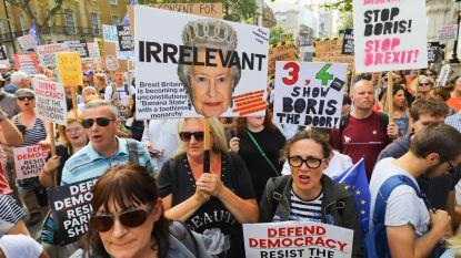 Betoging tegen 'coup' van Boris Johnson brengt slechts enkele duizenden mensen op de been