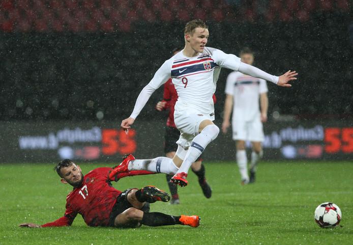 Martin Odegaard in actie voor het nationale team van Noorwegen, eerder dit jaar tegen Albanië.