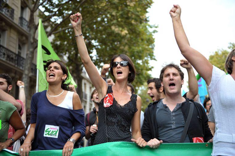 Protesterende Fransen demonstreren donderdag tegen de plannen van de regering. (AFP) Beeld AFP