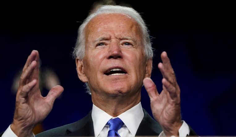 De Democratische presidentskandidaat Joe Biden tijdens zijn acceptatiespeech op de laatste avond van de vrijwel volledig 'virtuele' Democratische Conventie in Wilmington (Delaware). Beeld Reuters
