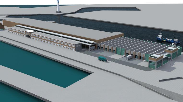 Op het simulatiebeeld zie je rechts de voorgevel die bewaard blijft. Onderaan zie je de poorten waar de vrachtwagens de vis kunnen ophalen.