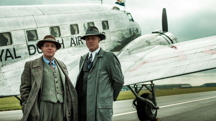 Fedja van Huêt als Anthony Fokker en Daan Schuurmans als Albert Plesman in Vliegende Hollanders.