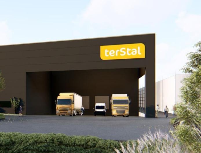Artist impression van het nieuwe logistiek centrum van TerStal
