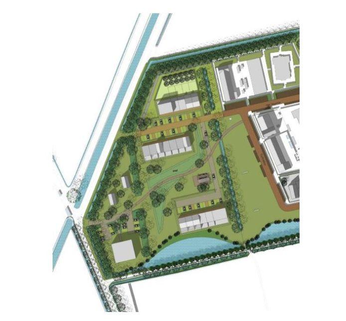 Ontwerpschets van mogelijke indeling E-Veld Terheijden van AURA en STROOM architecten.