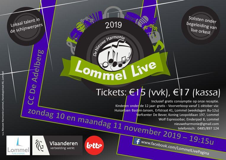 De flyer van Lommel Live