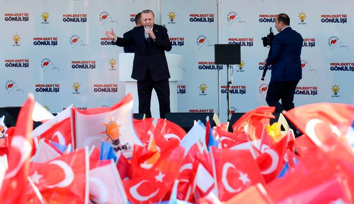 De Turkse President Recep Tayyip Erdogan op verkiezingscampagne van de AK Partij, lokale verkiezingen in de hoofdstad en 81 provincies worden gehouden op 31 maart 2019.