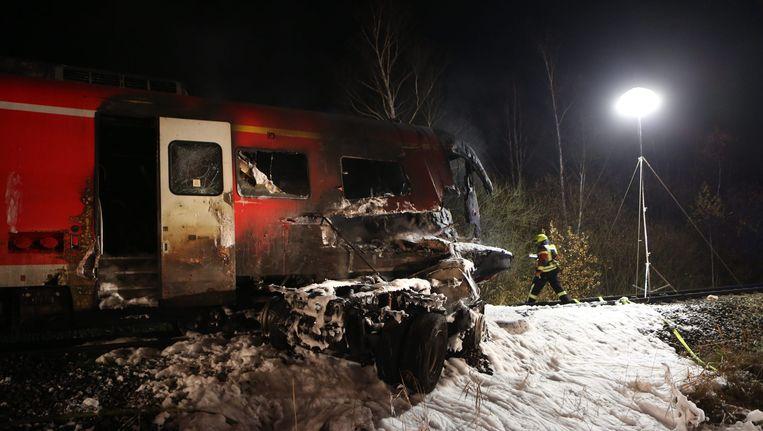 De trein na het ongeval bij Freihung. Beeld EPA
