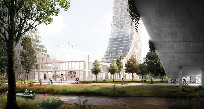 Impressie van het gebouw de Dutch Mountains dat in Eindhoven moet verrijzen.