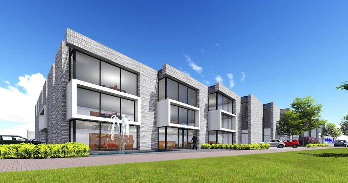 Een impressie van het nieuwe bedrijfspand van Van den Borne in Valkenswaard zoals dat eind 2017 aan de Leenderweg in Valkenswaard zal zijn voltooid. Tekening: Margry-Arts