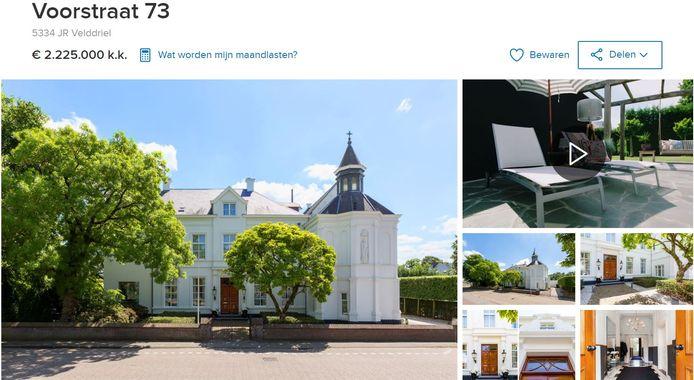 Het voormalige sektegebouw in Velddriel staat na een ingrijpende verbouwing te koop.