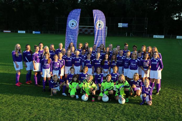 De paarse shirts waar de jeugd van Estra, GVV/57 en SCV'58 in gaat spelen.