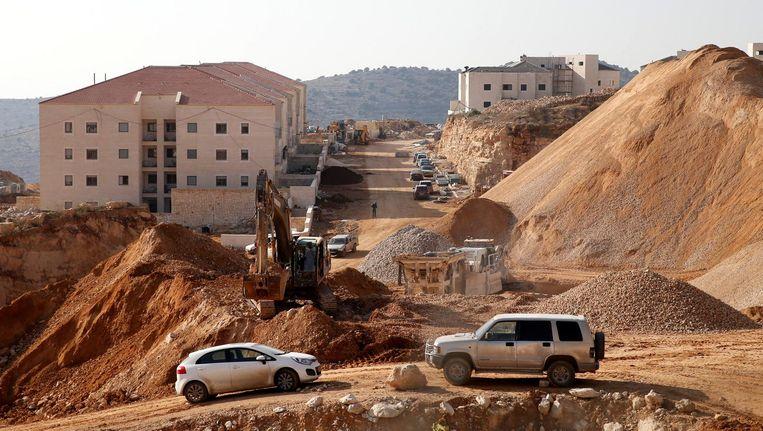 Een bouwplaats in een Israëlische nederzetting aan de West Bank. Beeld reuters