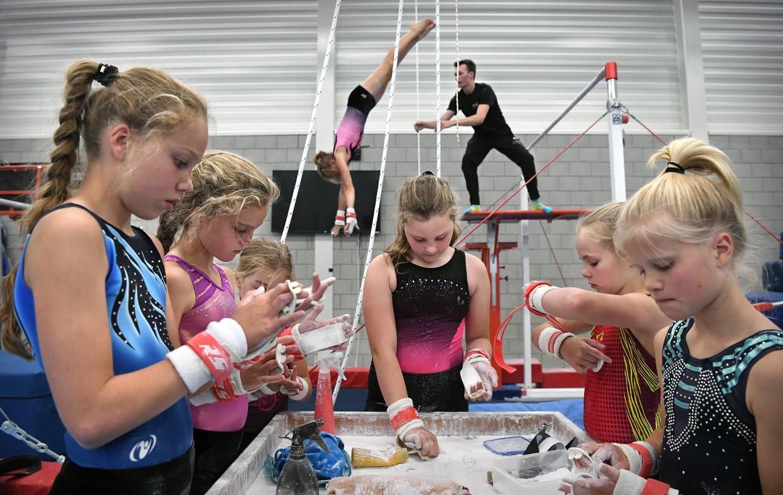 Turnsters werken tijdens het zomerkamp van vereniging De Hazenkamp aan het verbeteren van hun techniek. Beeld Marcel van den Bergh / de Volkskrant