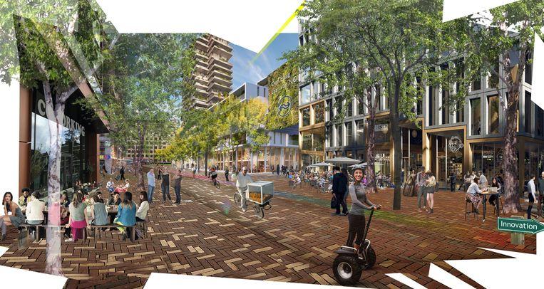 Impressie van het gebied rond station Laan van NOI, met rechts het station en links nieuwbouw op de plek waar nu het oude ministerie van Sociale Zaken staat. Beeld Gemeente Den Haag