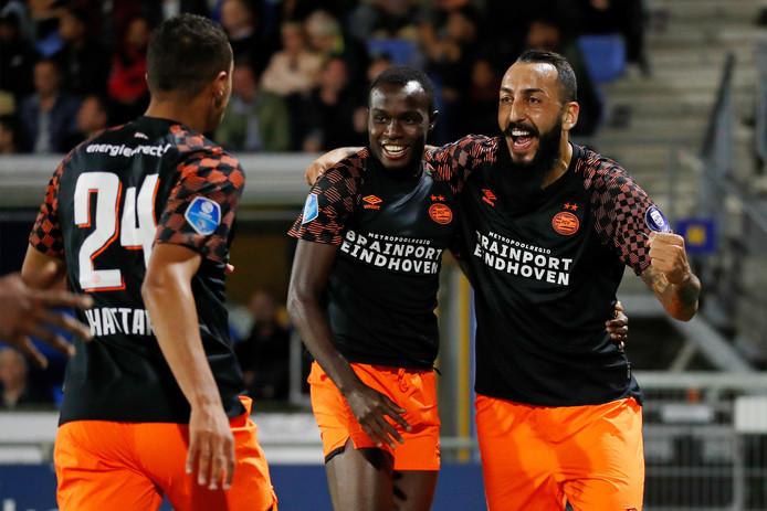Mohamed Ihattaren, Armindo Bruma en Konstantinos Mitroglou vieren de 1-3.