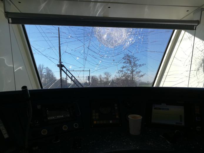 Schade in de getroffen trein