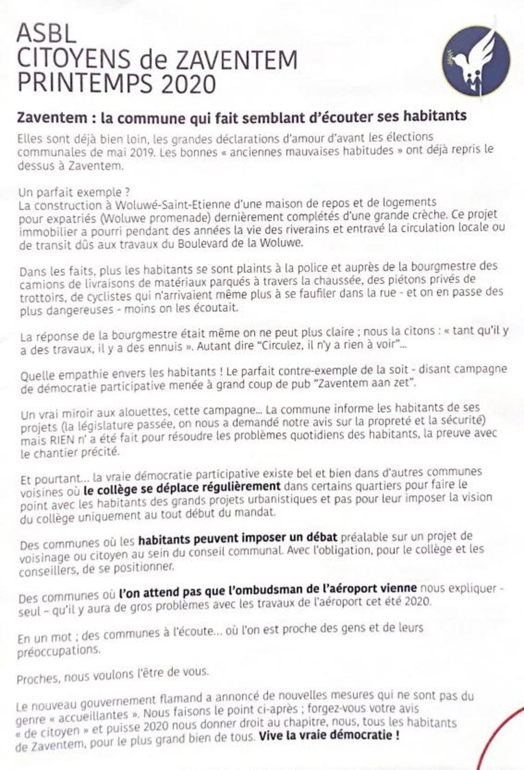 Dit pamflet van de vzw Citoyens de Zaventem zet kwaad bloed bij de lokale N-VA-afdeling.