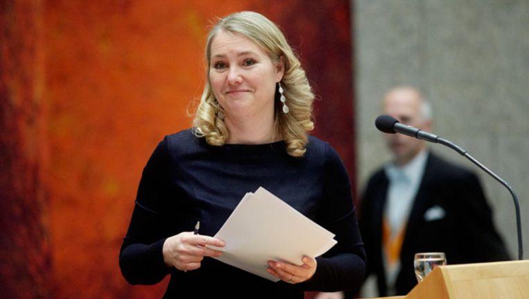 Minister van Infrastructuur en Milieu Melanie Schultz van Haegen opent vanmiddag de nieuwe site www.meldpuntveiligverkeer.nl. Beeld anp