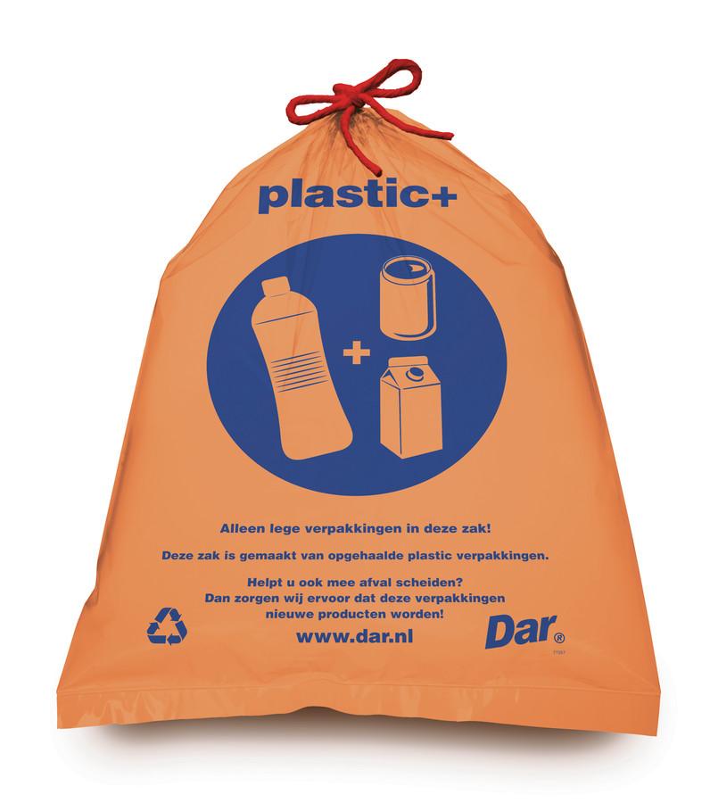De nieuwe plastic+-afvalzak.
