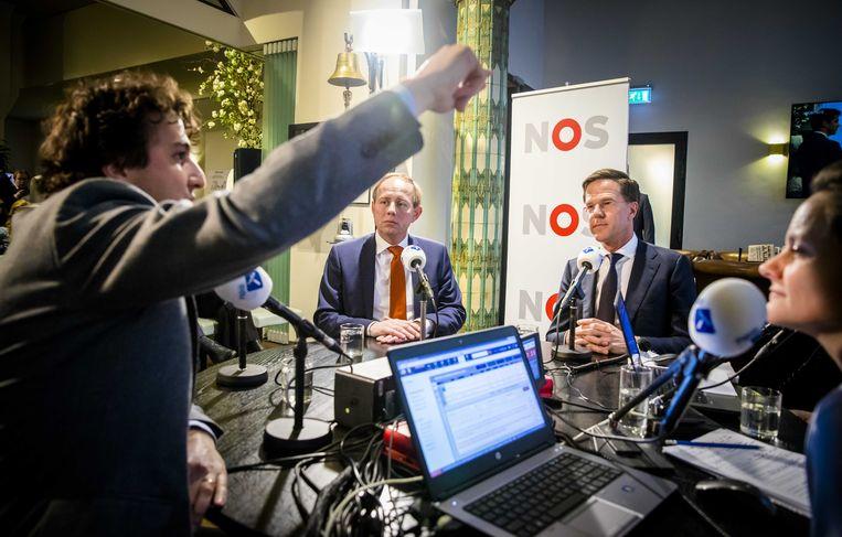 Jesse Klaver (Groenlinks), Kees van der Staaij (SGP) en Premier Mark Rutte tijdens het NOS verkiezingsdebat op NPO Radio 1, vorig jaar tijdens de gemeenteraadsverkiezingen.  Beeld ANP