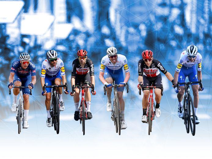 Jonas Rickaert, Dries Devenyns, Frederik Frison, Tim Declercq, Jasper De Buyst en Pieter Serry: de zes kanshebbers voor de Kristallen Zweetdruppel.