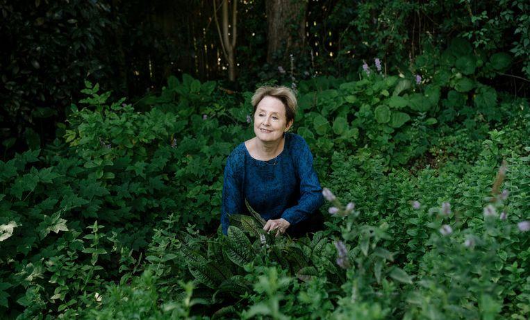 Alice Waters in haar kruidentuin in Berkeley.  Beeld null