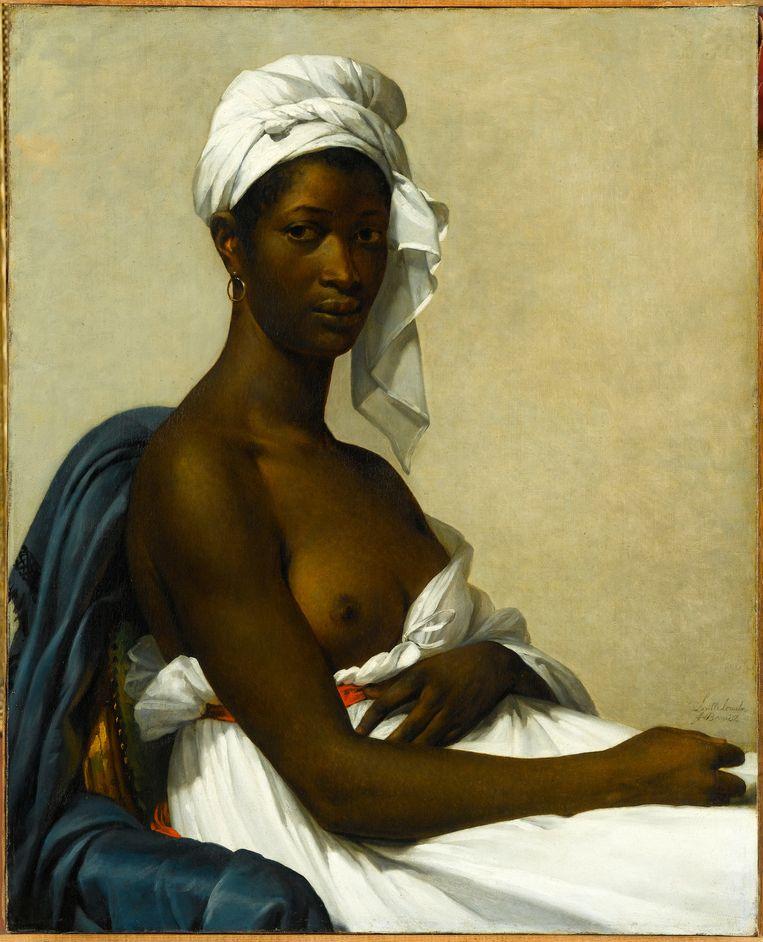 Marie Guillemine Benoist (1768-1826), Portrait de Madeleine, 1800. Ook wel: Portrait d'une femme noire, in 1800 gepresenteerd onder de titel: Portret van een negerin.  Olieverf op doek, 81 x 65 cm Paris, musée du Louvre, INV 2508 Beeld © Photo RMN - Gérard Blot
