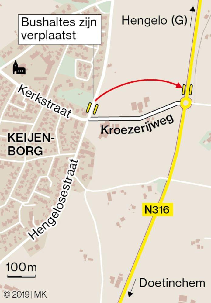 De bushalte in Keijenbreog is verplaats van de Hengelosestraat naar een plek langs de Rondweg.