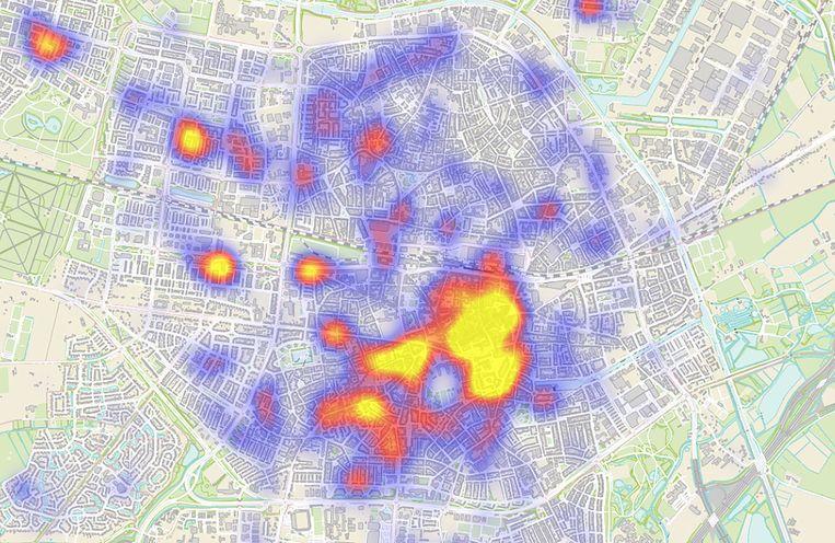 In de geel gekleurde Tilburgse wijken wordt het meest ingebroken, blijkt uit de analyses van de afdeling 'Intelligence'van de gemeente Beeld Gemeente Tilburg