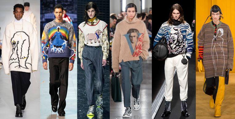 OAMC, Louis Vuitton, Gucci, Valentino en Dior Homme en Loewe. Beeld Imaxtree