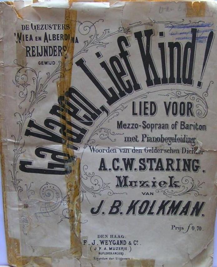 De omslag van het muziekstuk 'Ga varen, lief kind', met tekst van Staring en muziek van J.B. Kolkman. ;