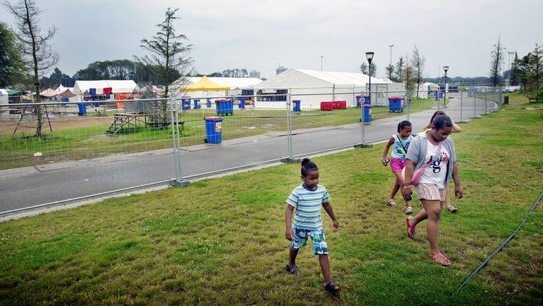 Het festivalterrein is leeg en verlaten. Beeld ANP
