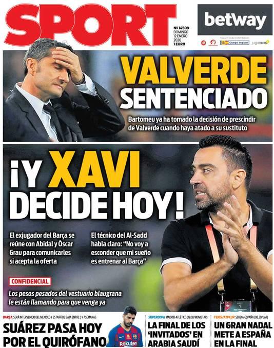 De cover van de Spaanse krant Sport.