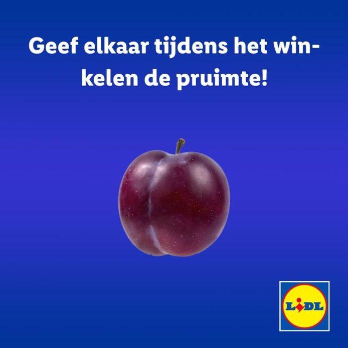 """Een andere genomineerde slogan. Supermarktketen Lidl haakte in op de coronamaatregelen met """"Geef elkaar tijdens het winkelen de pruimte!""""."""