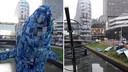 De plastic walvis in de Catharijnesingel in Utrecht. De foto rechts is op maandagochtend genomen.